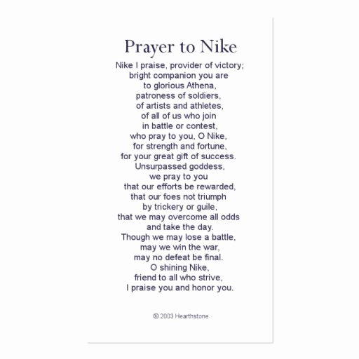 Free Missionary Prayer Card Template New Nike Victory Prayer Card Business Card Template