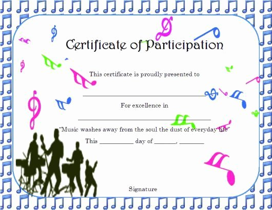 Free Music Certificate Templates Elegant Certificate Of Partcipation Template Music