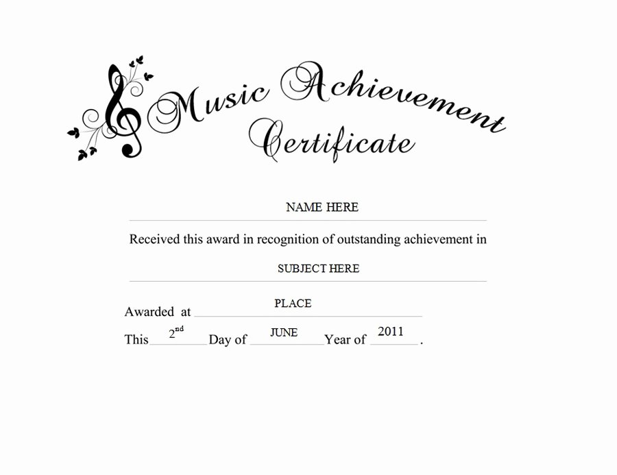 Free Music Certificate Templates Inspirational Music Achievement Certificate Free Templates Clip Art