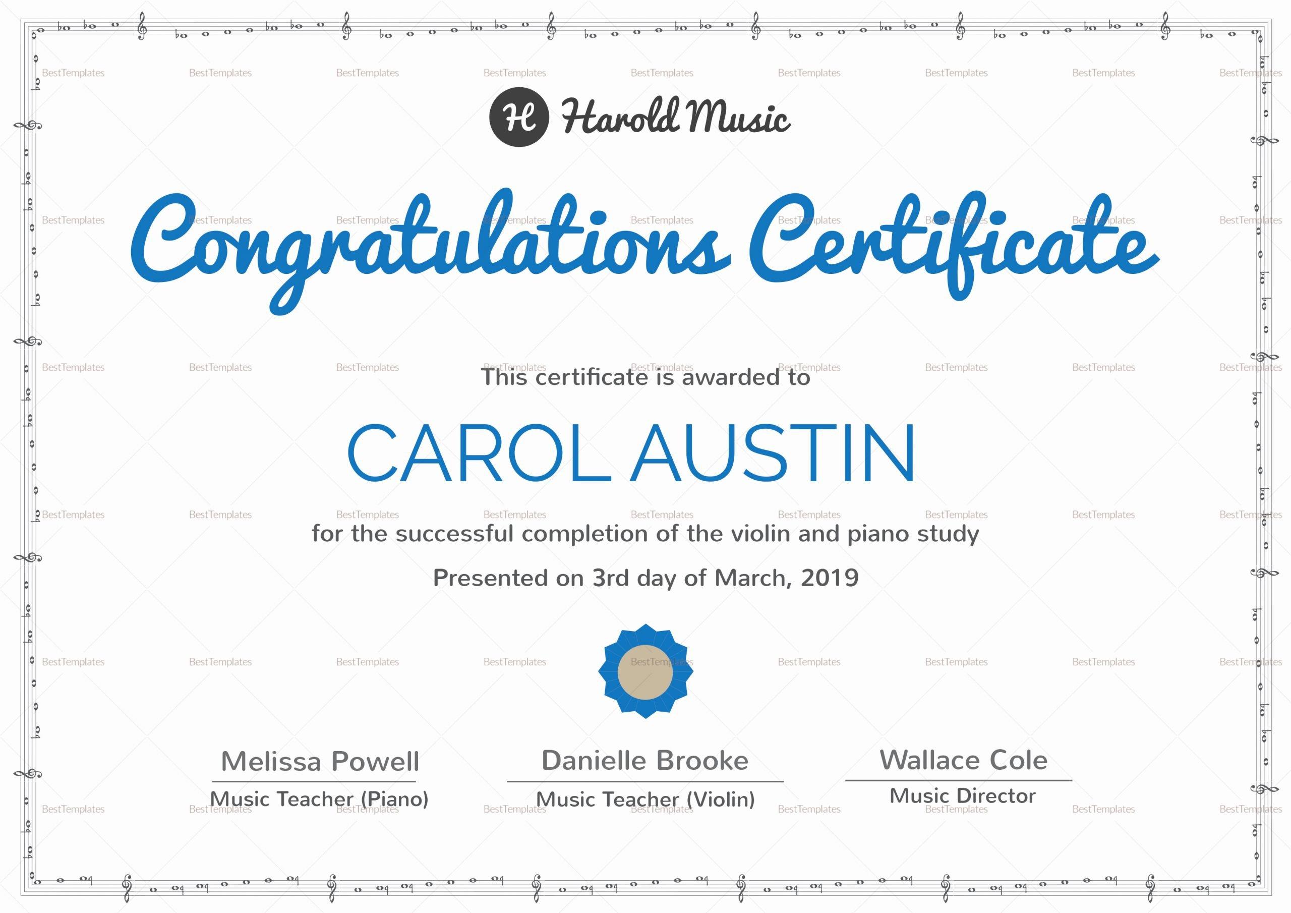 Free Music Certificate Templates Unique Music Training Pletion Certificate Design Template In