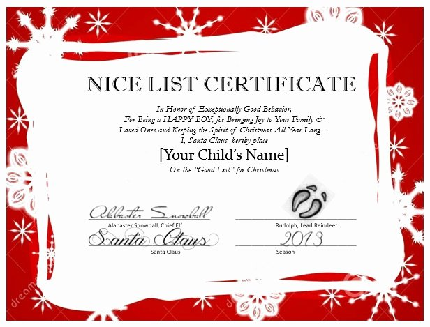Free Nice List Certificate Template Awesome Messages From Santa