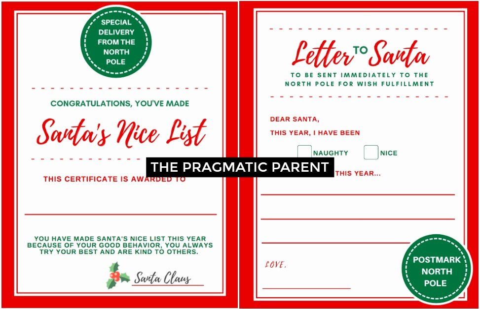 letter to santa certificate for making the nice list