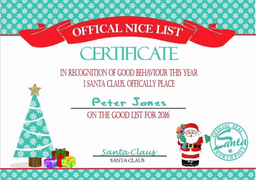 Free Nice List Certificate Template Beautiful Personalised Santa S Nice List Certificate Design 2