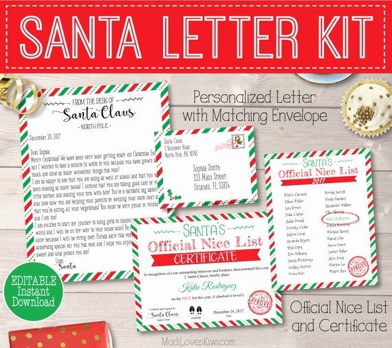 Free Nice List Certificate Template Beautiful Personalized Santa Letter Kit Printable Santa S Nice List