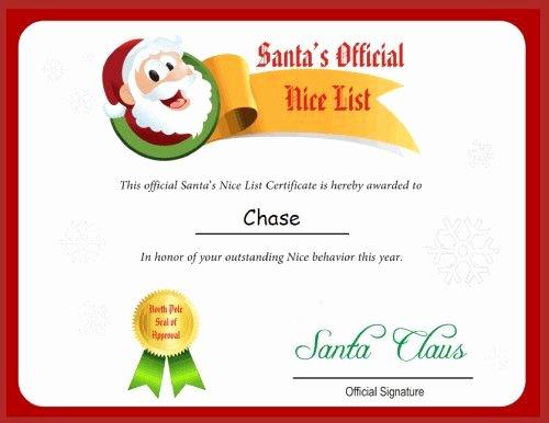 Free Nice List Certificate Template Best Of Free Printable Santa Letters Nice List Certificate From