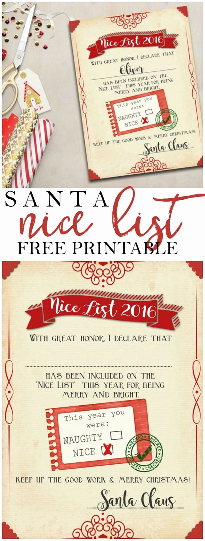 "Free Nice List Certificate Template Best Of Santa ""nice List"" Free Printable Certificate"
