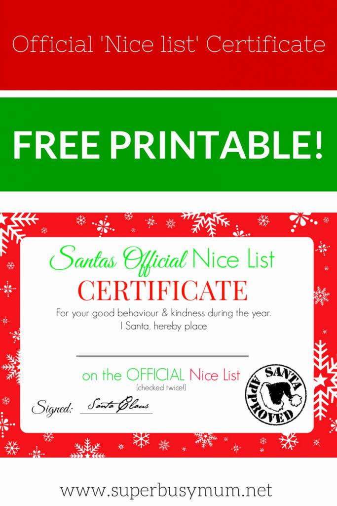 Free Nice List Certificate Template Elegant Christmas Nice List Certificate – Free Printable – Super