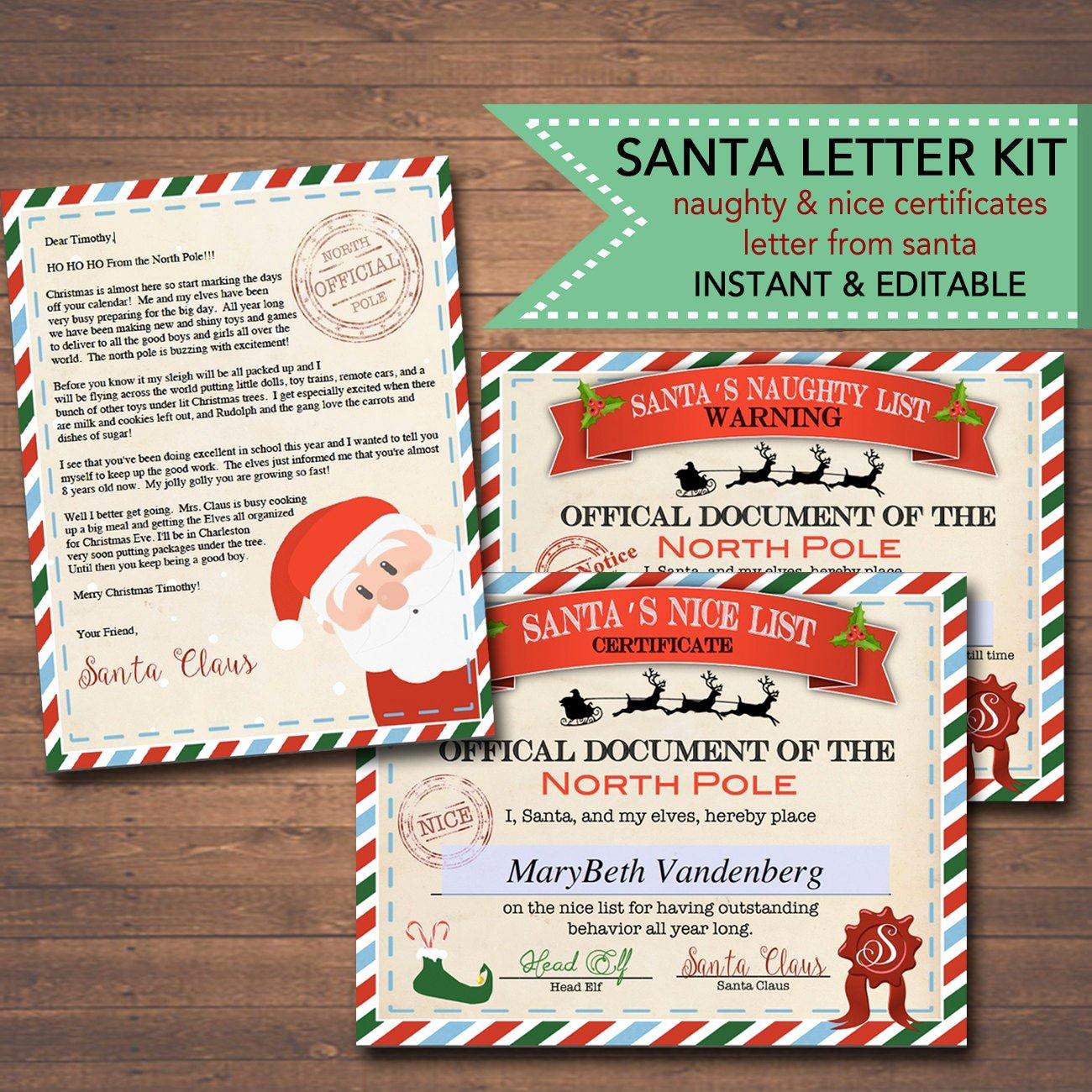Free Nice List Certificate Template Elegant Editable Nice Naughty Certificates Santa Letter Christmas