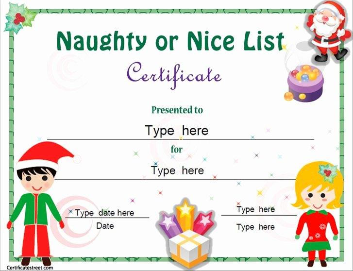 Free Nice List Certificate Template Luxury Christmas Education Certificate Templates for Kids