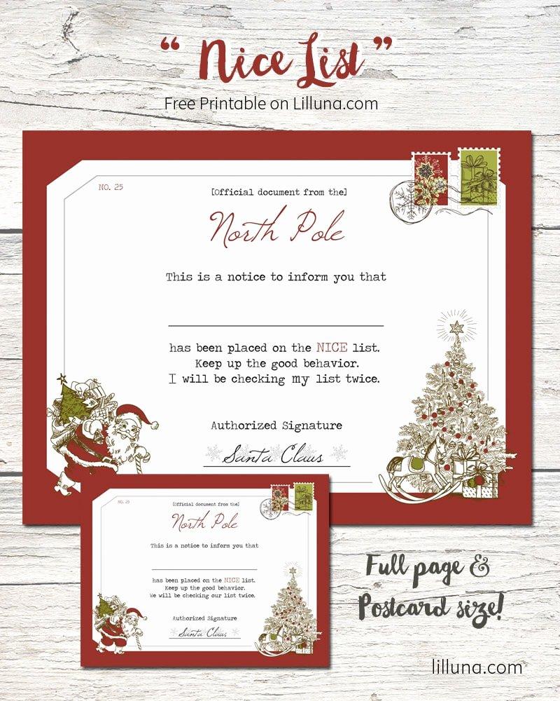 Free Nice List Certificate Template New Santa S Nice List Certificate