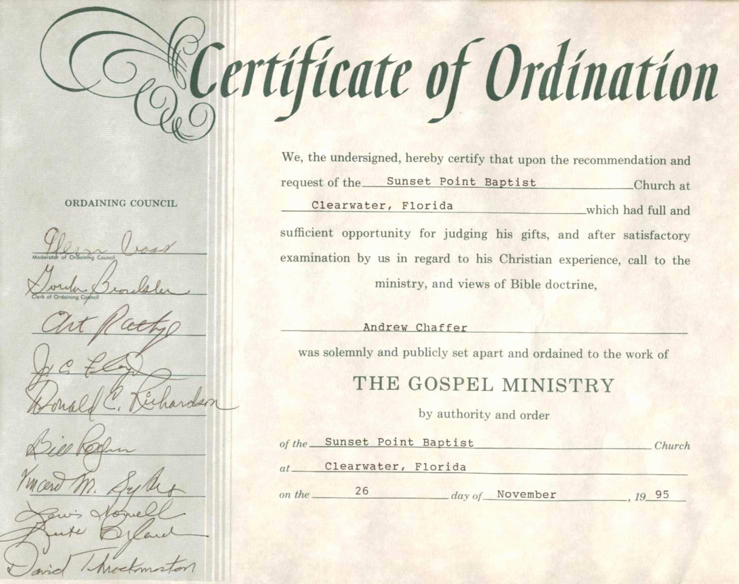 Free ordination Certificate Template Beautiful Minister ordination Certificate Excellent Pastor