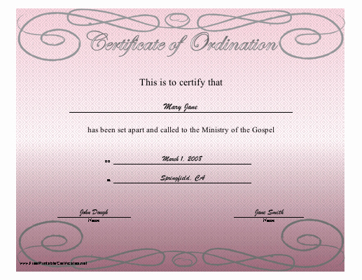 Free ordination Certificate Template Luxury Certificate Of ordination Printable Certificate
