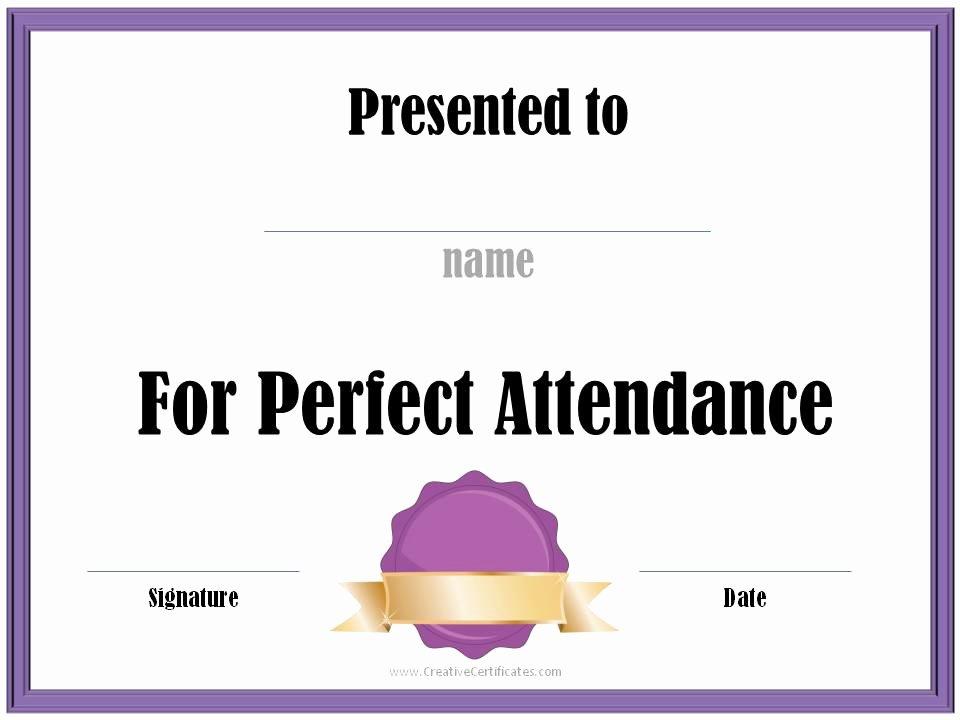 Free Perfect attendance Certificate Beautiful Free Printable Perfect attendance Certificate Template