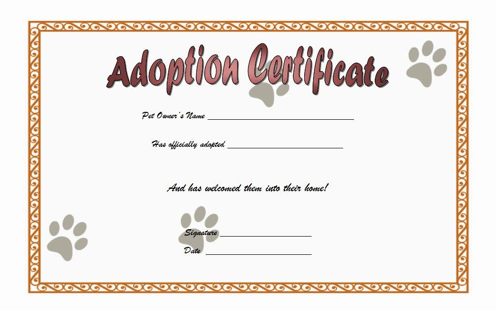 Free Pet Adoption Certificate Template Lovely Cat Adoption Certificate Templates Free [9 Update Designs
