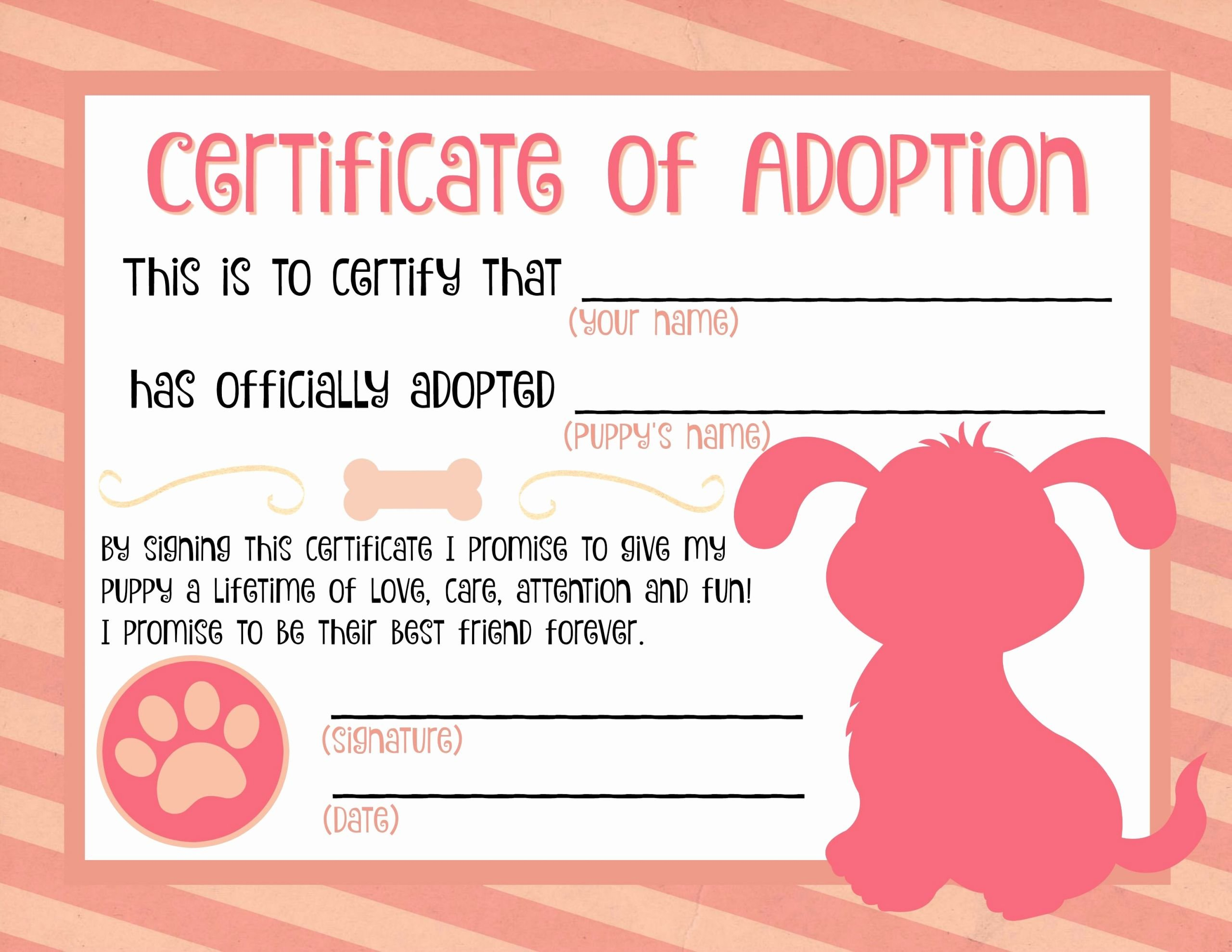 Free Pet Adoption Certificate Template Luxury Puppy Adoption Certificate … Party Ideas In 2019