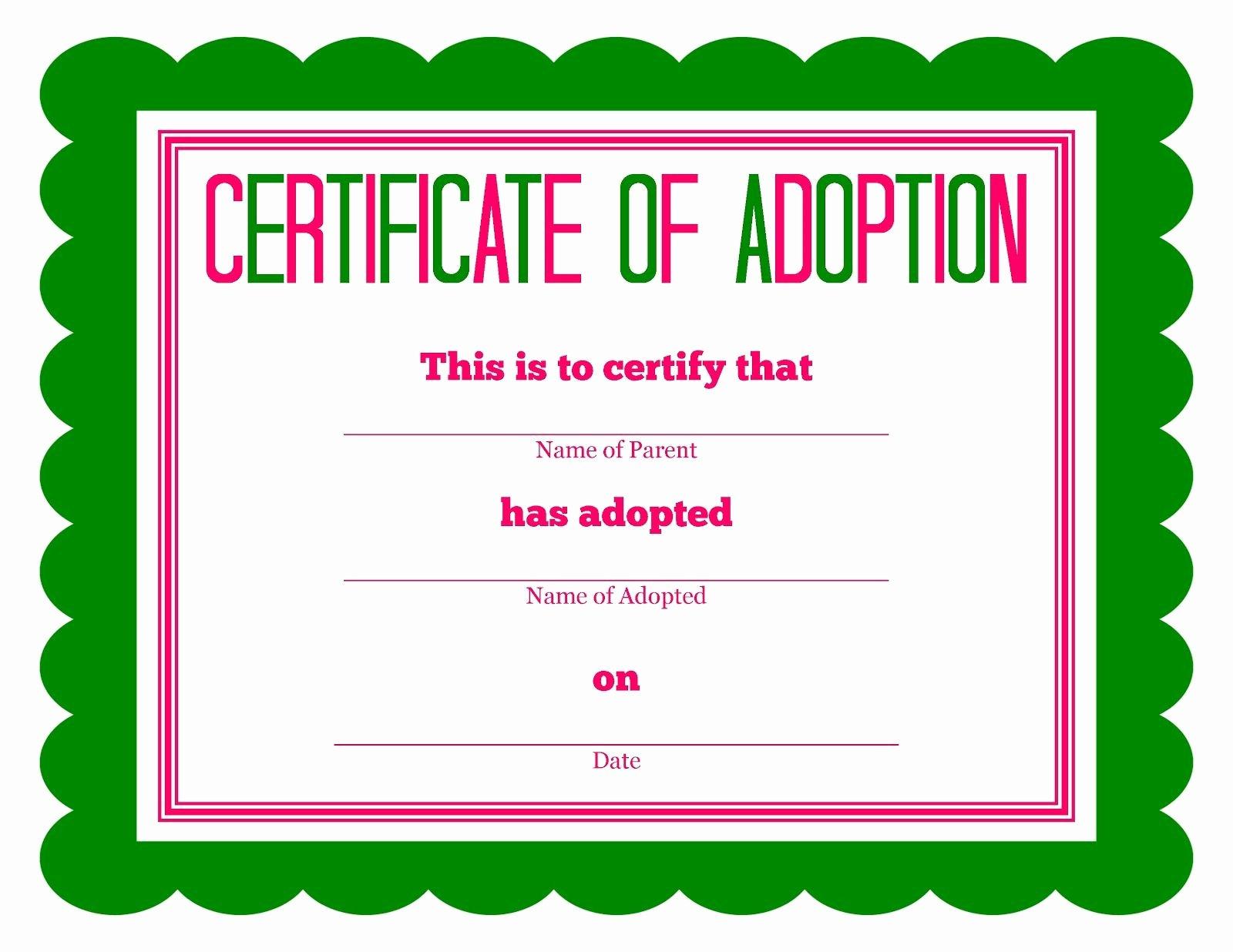 Free Pet Adoption Certificate Template Unique Free Printable Stuffed Animal Adoption Certificate