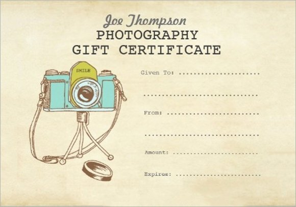 Free Photo Session Gift Certificate Template Awesome Free 11 Sample attractive Graphy Gift Certificate