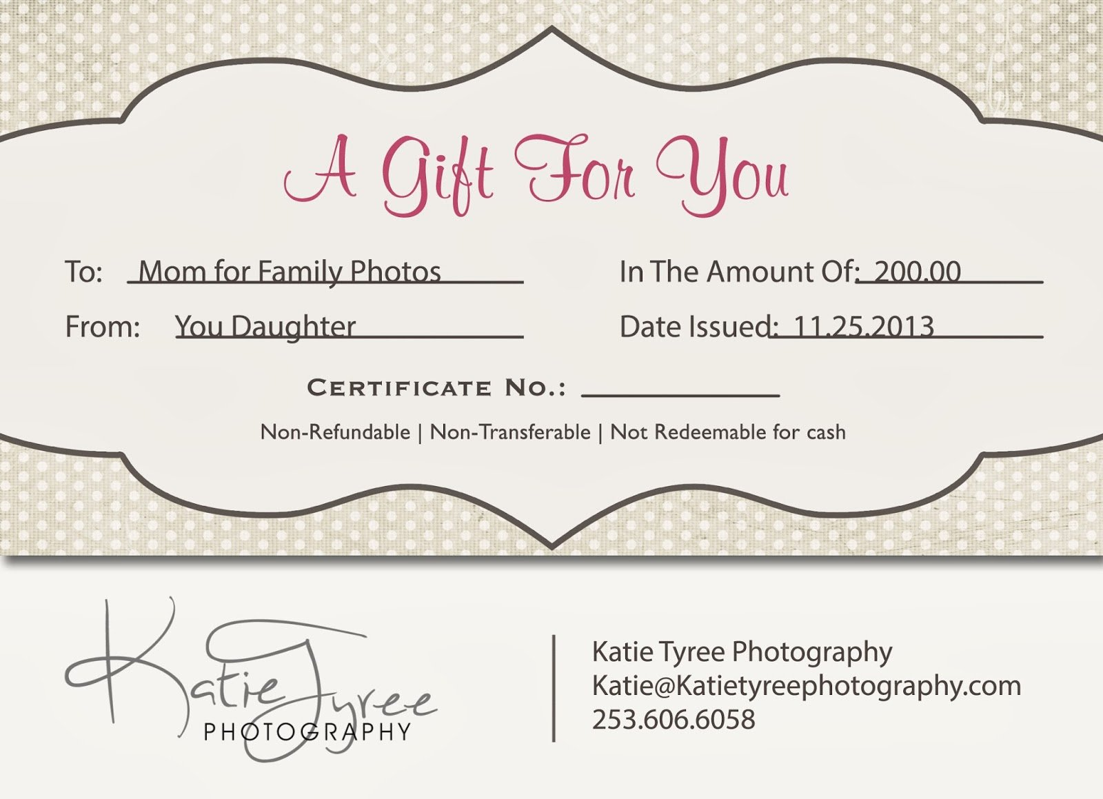 Free Photo Session Gift Certificate Template Awesome Katie Tyree Graphy Best Christmas Present 2013