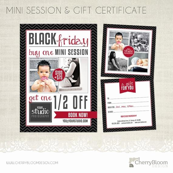 Free Photo Session Gift Certificate Template Fresh Black Friday Mini Session Templates for Graphers