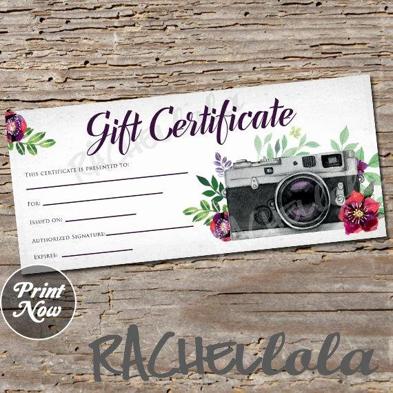 Free Photo Session Gift Certificate Template Unique Red Floral Camera Printable Gift Certificate Template