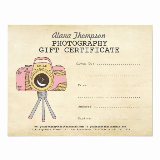 Free Photographer Gift Certificate Template Lovely Grapher Graphy Gift Certificate Template 4 25x5