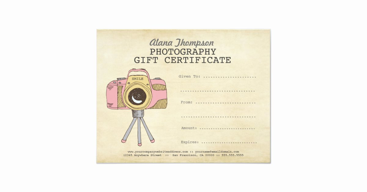 Free Photographer Gift Certificate Template Lovely Grapher Graphy Gift Certificate Template