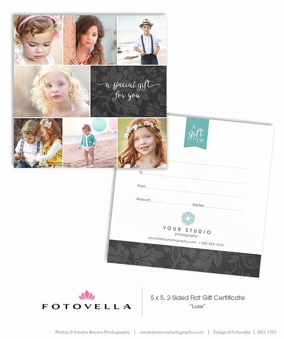 Free Photographer Gift Certificate Template Luxury Graphy Gift Certificate 5x5 Two Sided Card
