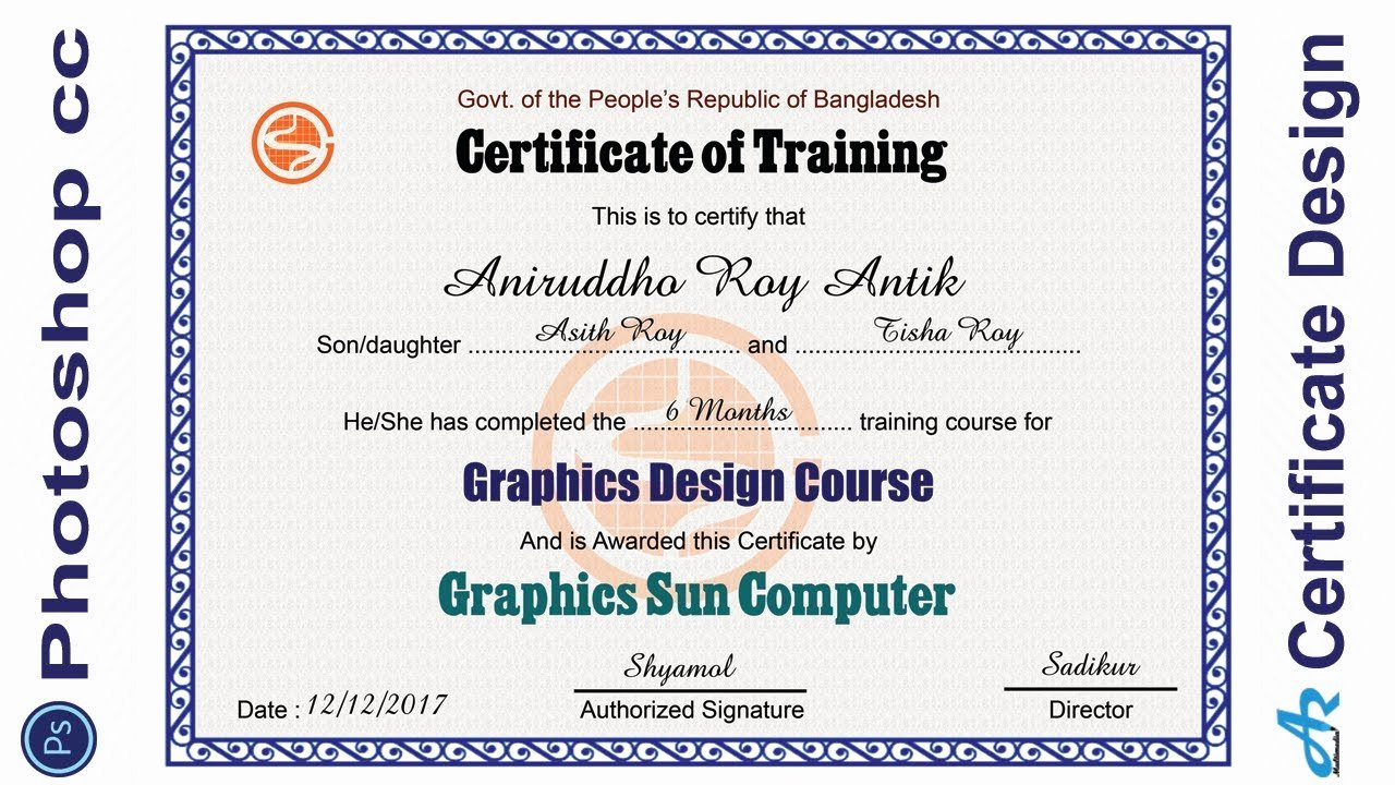 Free Photoshop Certificate Template Awesome Shop Cc Tutorial Certificate Design In Shop