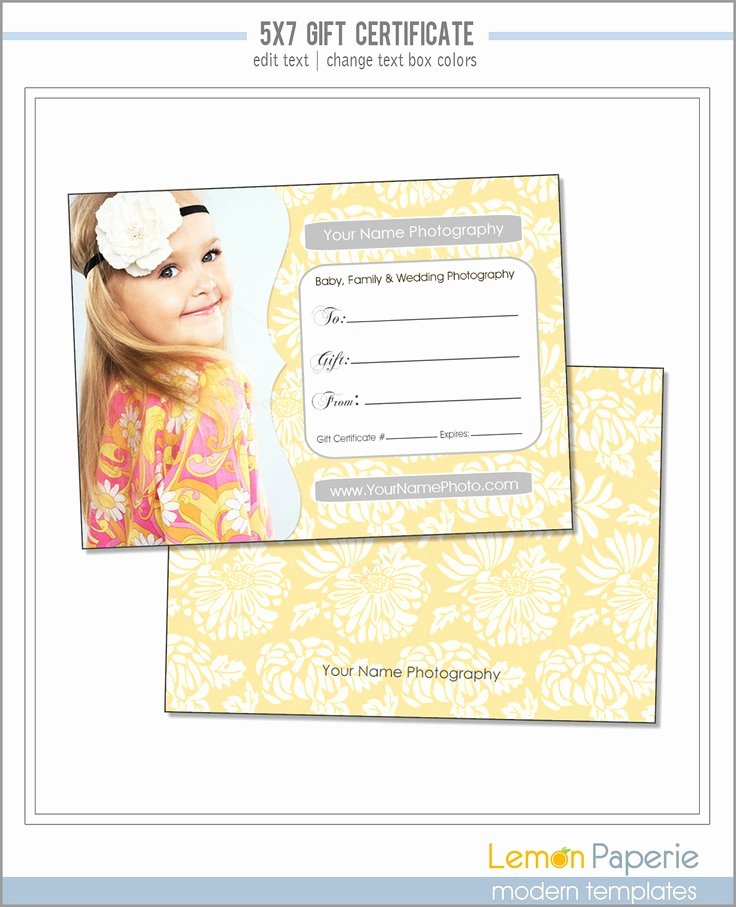 Free Photoshop Certificate Template Inspirational 5x7 and 4x6 Gift Certificate Template Fresh Blossoms Psd