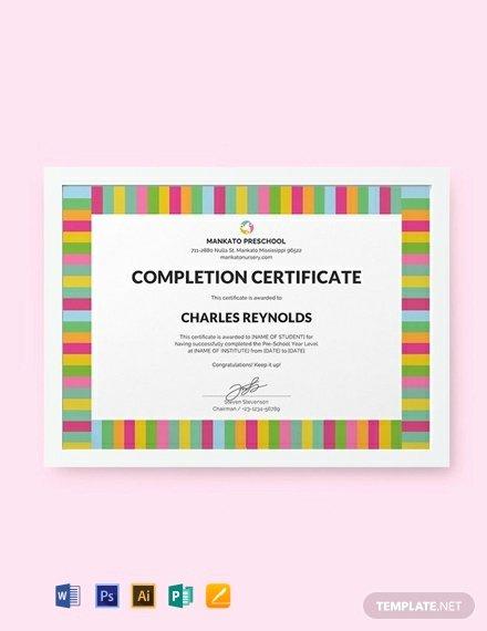 Free Preschool Certificate Template Luxury Free Preschool Pletion Certificate Template Word