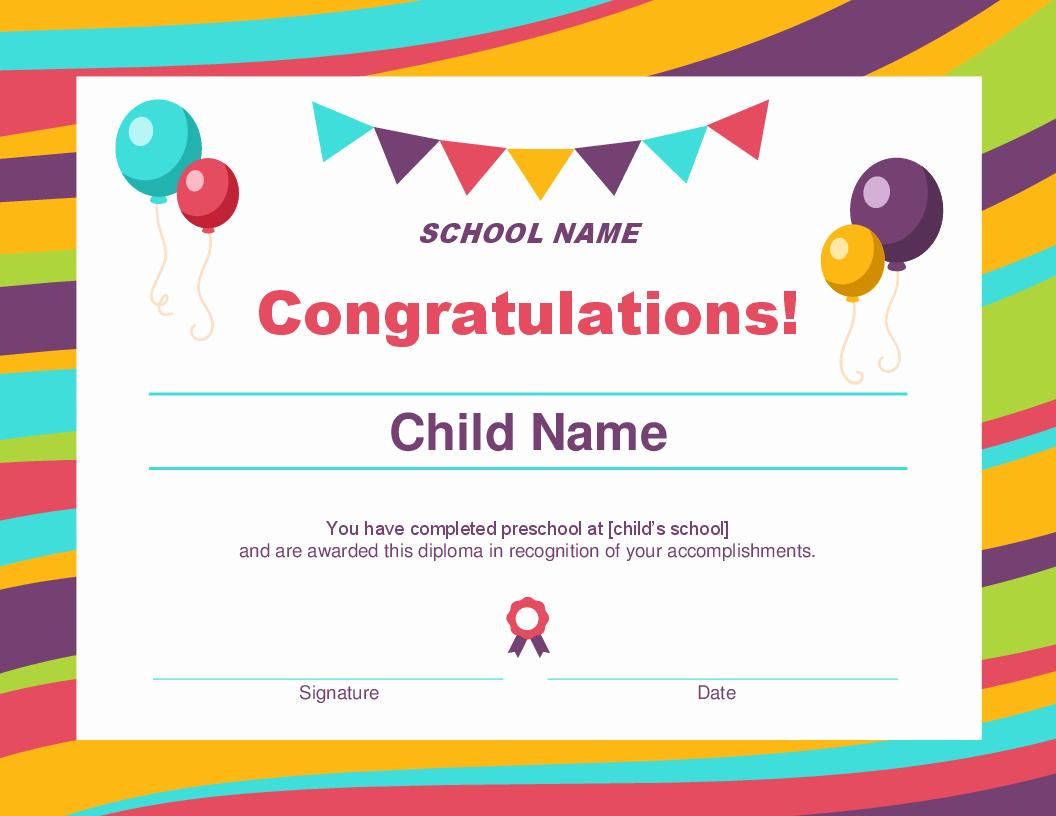 Free Preschool Certificate Templates Elegant Certificates Fice