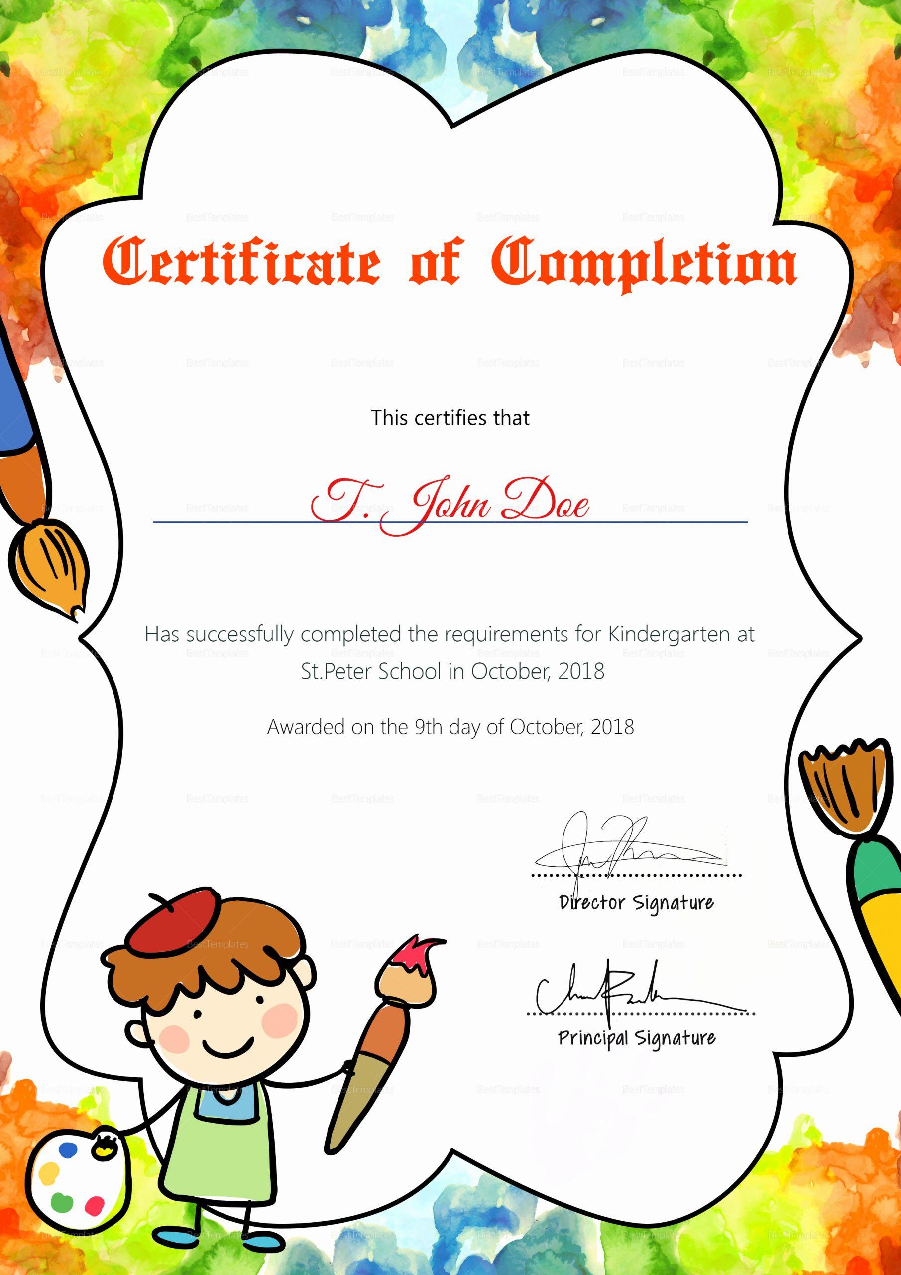 Free Preschool Certificate Templates Elegant Preschool Diploma Pletion Certificate Design Template