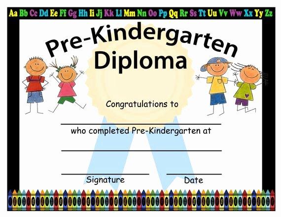 Free Preschool Certificate Templates Fresh Pre Kindergarten Graduation Diplomas Blank Graduation