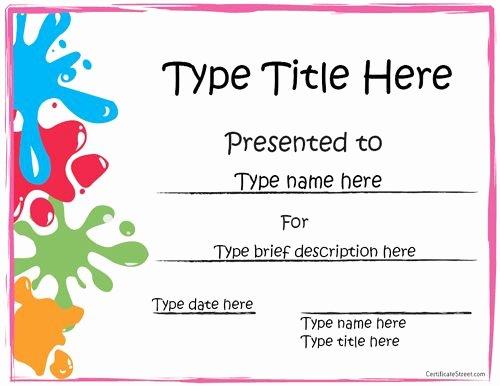 Free Preschool Certificate Templates Luxury Sports Certificate Art Award Certificate