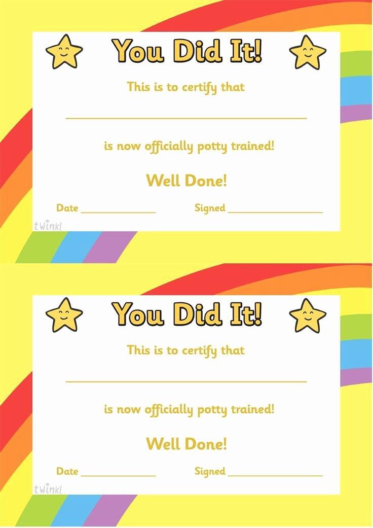 Free Preschool Certificate Templates New Potty Training Certificate Free Printables