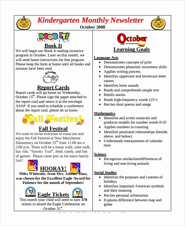 Free Preschool Newsletter Template Microsoft Word Beautiful Sample Monthly Newsletter 8 Documents In Pdf Word