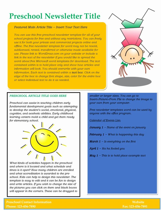 Free Preschool Newsletter Template Microsoft Word Fresh 16 Preschool Newsletter Templates Easily Editable and