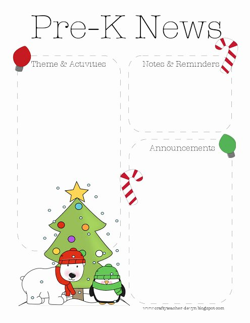 Free Preschool Newsletter Template Microsoft Word Fresh Christmas Pre K Newsletter Template