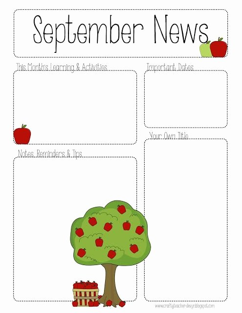 Free Preschool Newsletter Templates for Word Beautiful September Printable Newsletter All Grades
