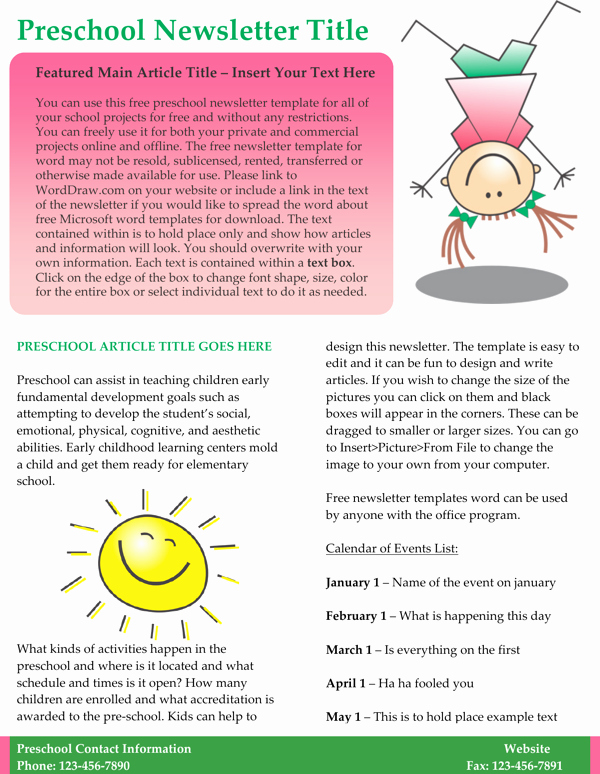 Free Preschool Newsletter Templates for Word Elegant Download Kids Preschool Newsletter Template Word format