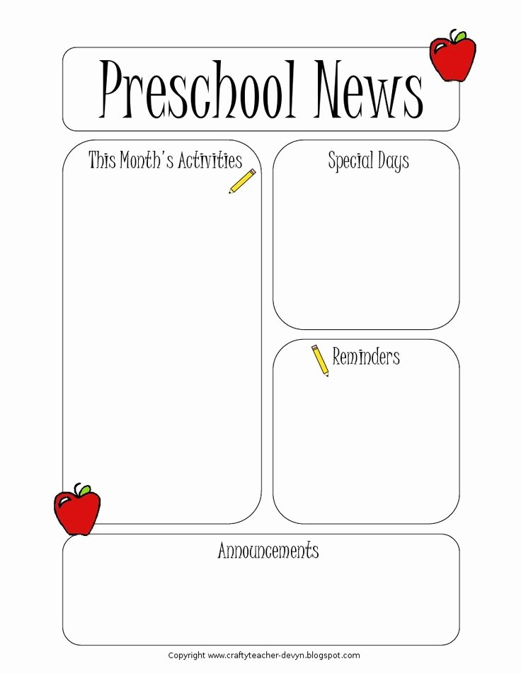 Free Preschool Newsletter Templates for Word Fresh Best 25 Preschool Newsletter Templates Ideas On Pinterest