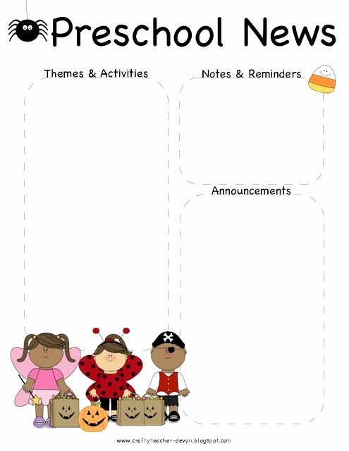 Free Preschool Newsletter Templates for Word New October Halloween Preschool Newsletter Template