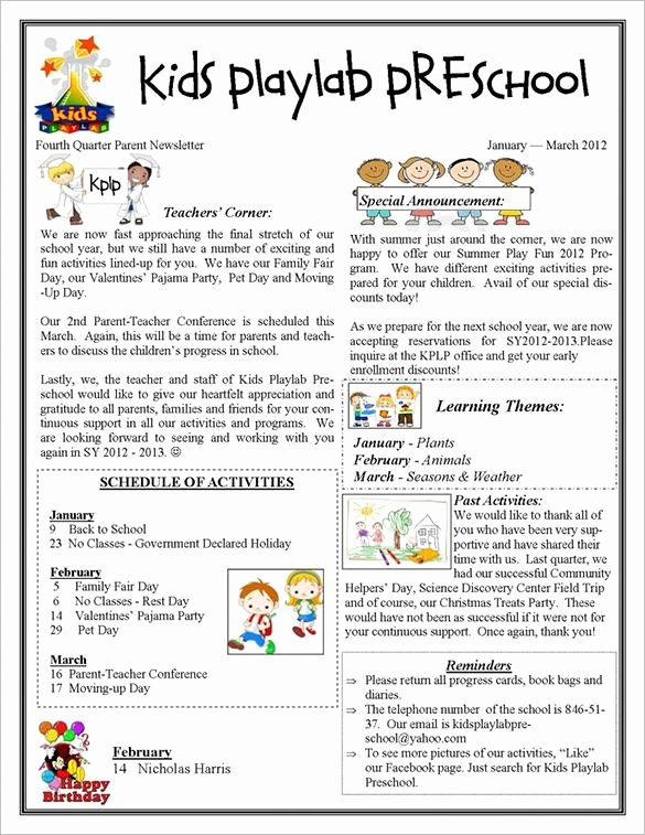 Free Preschool Newsletter Templates for Word Unique 13 Printable Preschool Newsletter Templates Free Word