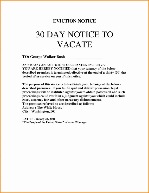 Free Printable 30 Day Eviction Notice Template Fresh 30 Day Eviction Notice Template