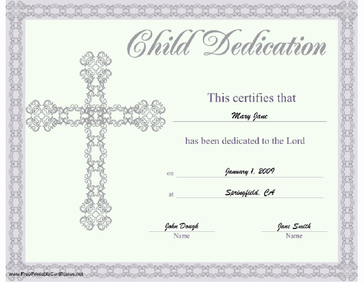Free Printable Baby Dedication Certificate Template New This Beautiful Religious Certificate Of Child or Baby