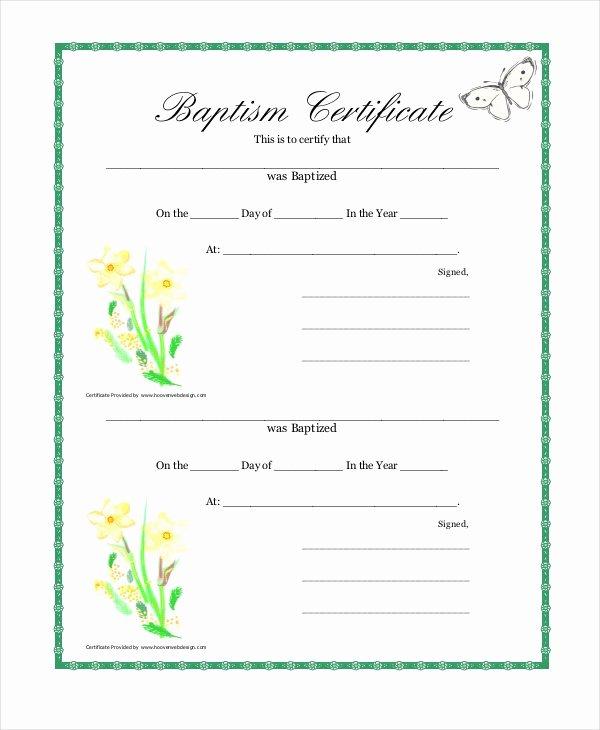 Free Printable Baptism Certificate Elegant 12 Baptism Certificate Templates
