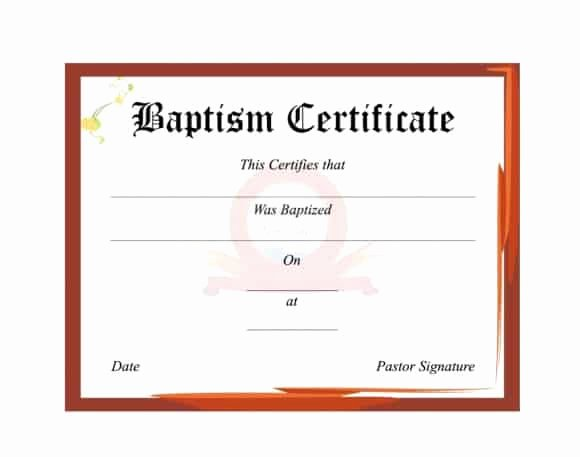 Free Printable Baptism Certificate Elegant 47 Baptism Certificate Templates Free Printable Templates