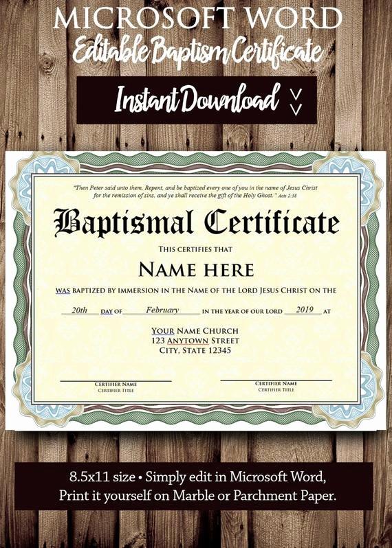 Free Printable Baptism Certificate Fresh Baptism Certificate Template Microsoft Word Editable File