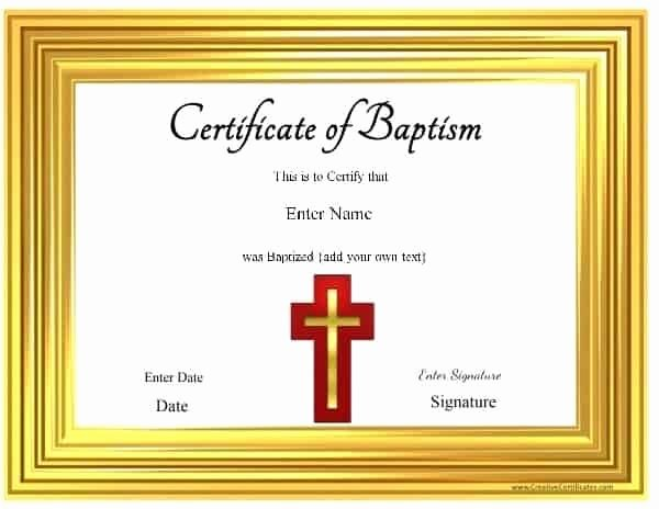 Free Printable Baptism Certificate Inspirational Free Printable Baptism Certificate