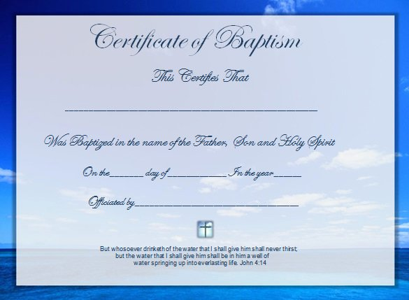 Free Printable Baptism Certificate Lovely Word Certificate Template 53 Free Download Samples